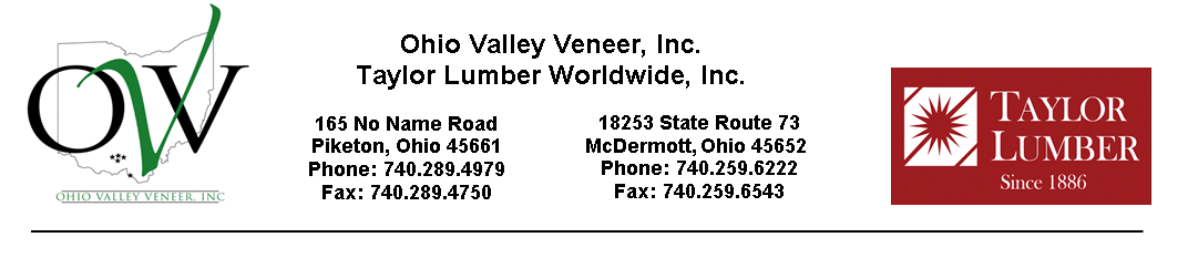 Taylor lumber and Ohio Valley Veneer